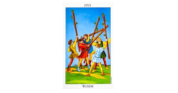 5 of Wands Tarot Card – Meaning, Love, Reversed
