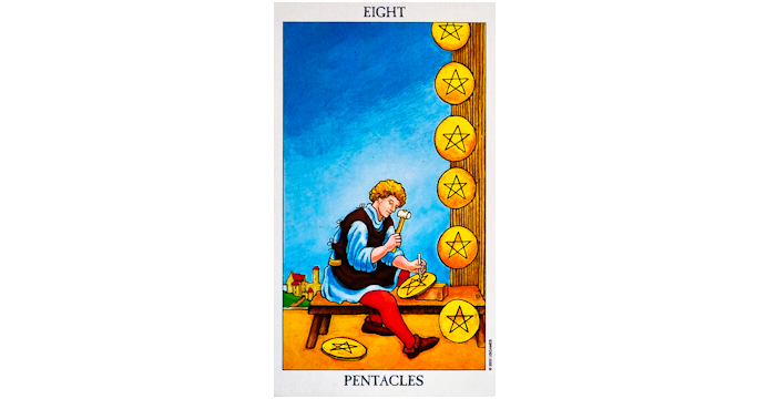 8 of Pentacles Tarot Card – Meaning, Love, Reversed